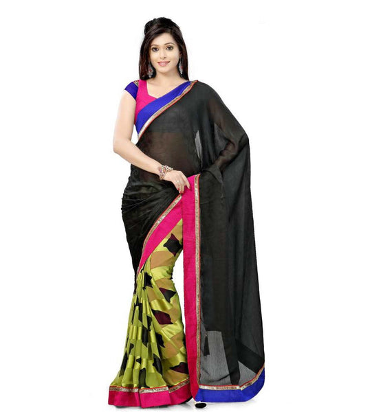 DESIGNER BLACK AND GREEN SEMI CASUAL SAREE RTTV7004