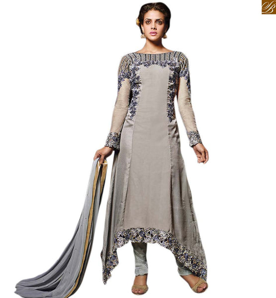 COLLECTION OF NEW DESIGNS OF SALWAR KAMEEZ WITH A DIFFERENT CUT AND STYLE |  Stand Out With Our Georgette and Net Heavy Embroidered Grey Kameez With Stylish Salwar