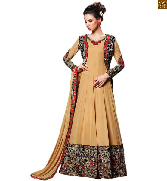 Image of Stylish kameez neck design of salwar suit churidar designs beige georgette heavy embroidered jacket type anarkali salwar kameez with beige santoon bottom