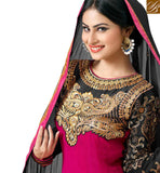 BEAUTIFUL DARK PINK ANARKALI SALWAR KAMEEZ WITH CHIFFON DUPATTA NZ47005