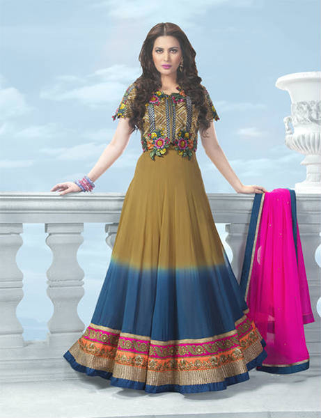 SUPERB SHADED GEORGETTE DESIGNER ANARKALI SUIT