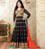 Jacket Koti Style Black Georgette Anarkali Dress Stylishbazaar