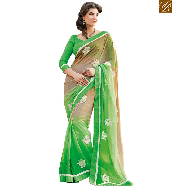 A STYLISH BAZAAR PRESENTATION DISTINCTIVE DESIGNER GREEN SAREE AND BLOUSE RTHTS7005