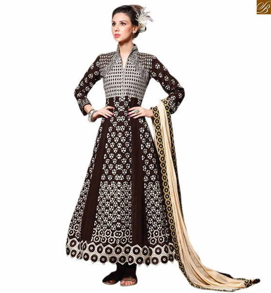 Latest fashion dress salwar kameez neck design lucknowi suits coffee georgette heavy resham embroidery work on all over salwar kameez with coffee santoon bottom Images