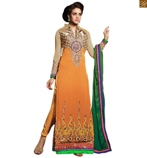 AWESOME NECK DESIGNS FOR SALWAR KAMEEZ WITH BORDERS AND CONTRAST CHIFFON DUPATTA   Turn Heads at Parties With our Orange Georgette  Embroiderred Kameez and Santoon Sawar