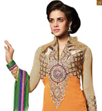 NECK DESIGNS FOR SALWAR KAMEEZ WITH BORDERS AND CONTRASTING SHAWL RTGDM7006