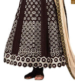 Coffee georgette heavy resham embroidery work on all over salwar kameez with coffee santoon bottom Pic