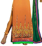 Turn Heads at Parties With our Orange Georgette  Embroiderred Kameez and Santoon Sawar