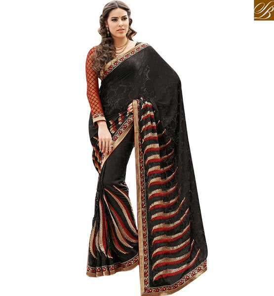 STYLISH BAZAAR ADORABLE BLACK DESIGNER SAREE AND BLOUE FOR PARTIES RTHTS7006