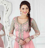 DOUBLE LAYERED NET EMBROIDERED ANARKALI DRESS MATERIAL PINK COLOR RUHANI PINK 7006A