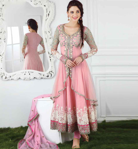 IMAGE OF DOUBLE LAYERED NET EMBROIDERED ANARKALI DRESS MATERIAL PINK COLOR RUHANI PINK DRESS PHOTO