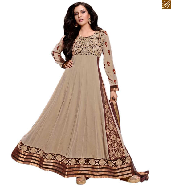 Photo of Anarkali salwar kameez designs catalogue design of suit set beige georgette floral and kerry style heavy embroidered salwar kameez with matching santoon bottom