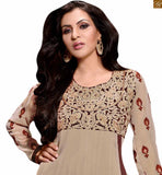 Image of Pretty anarkali salwar kameez designs catalogue design of suit set for new indian generation women beige georgette floral and kerry style heavy embroidered salwar kameez with matching santoon bottom