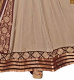 Photo of Beige georgette floral and kerry style heavy embroidered salwar kameez with matching santoon bottom
