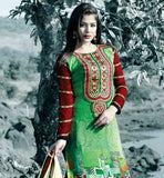 EYE-CATCHING PRINTED SALWAR SUIT WITH STYLISH EMBROIDRED NECKLINE