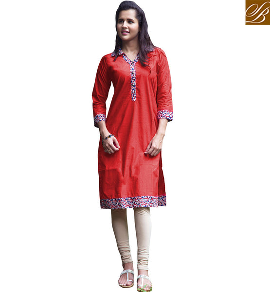 STYLISH BAZAAR MARVELOUS PARTY WEAR RED KURTI DESIGN VDSUH7010