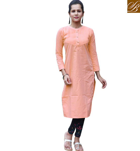 EXCELLENT DESIGNER KURTI DESIGN VDSUH7011 BY LIGHT ORANGE