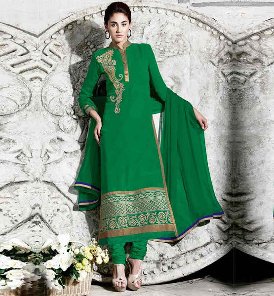LONG SALWAR KAMEEZ DESIGNS FOR INDIAN WOMEN	 GREEN STRAIGHT CUT SUIT WITH MATCHING BOTTOM AND PURE NAZNEEN CHIFFON DUPATTA