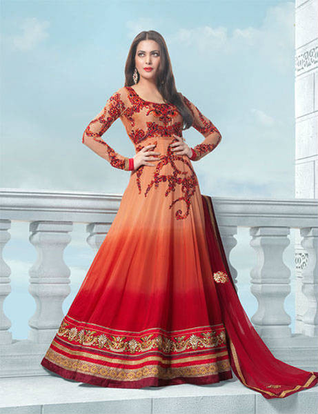 Shaded Wedding wear anarkali salwar suit for women