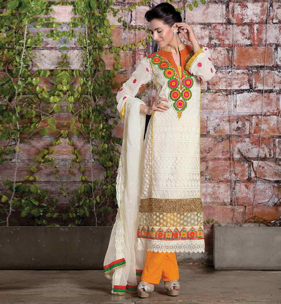 LATEST 2015 NECK DESIGNS FOR SALWAR KAMEEZ OFF WHITE COLOR SEMI BEMBERG GEORGETTE FABRIC STRAIGHT CUT SUIT WITH ORANGE COLOR SANTOON FABRIC BOTTOM