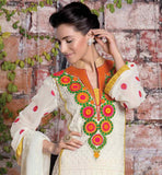 OFF WHITE COLOR SEMI BEMBERG GEORGETTE FABRIC STRAIGHT CUT SUIT WITH ORANGE COLOR SANTOON FABRIC  BOTTOM PARTY WEAR SUIT WITH PURE NAZNEEN DUPATTA WITH BORDER