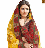 A STYLISH BAZAAR PRESENTATION GORGEOUS YELLOW WONDERFULLY DESIGNED SARI RTHTS7014