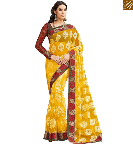 STYLISH BAZAAR PRESENTS GORGEOUS YELLOW WONDERFULLY DESIGNED SARI RTHTS7014