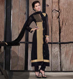 NEW PATTERN SALWAR KAMEEZ FOR FASHIONABLE WOMEN BLACK SEMI BEMBERG GEORGETTE SUIT WITH SALWAR AND DUPATTA