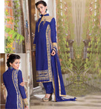 BUY LATEST SALWAR KAMEEZ DESIGNS 2015 IN INDIA SEMI BEMBERG GEORGETTE STRAIGHT CUT SUIT WITH SANTOON BOTTOM AND PURE NAZNEEN DUPATTA