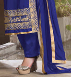 BLUE PARTY WEAR DRESS WITH DESIGNING ON FRONT AND BOTTOM BUY LATEST SALWAR KAMEEZ DESIGNS 2015 IN INDIA