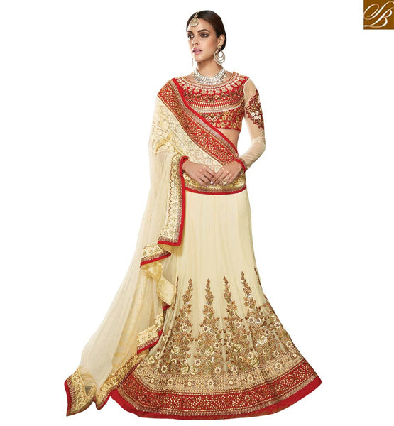 STYLISH BAZAAR REFRESHING CREAM AND RED CHANIYA CHOLI DESIGNER  WEAR VDKHA701