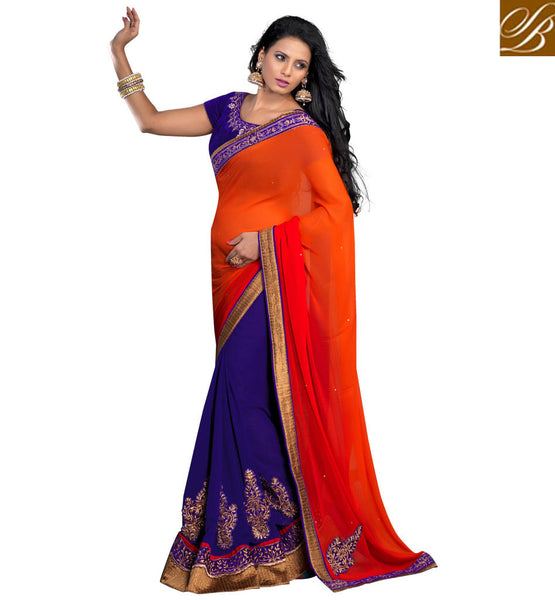 UY DESIGNER SAREE ONLINE WITH EMBROIDERED VELVET BLOUSE MATERIAL
