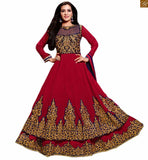 Photo of Beautiful dresses salwar kameez 2015 asian suits shop online red georgette heavy floral embroidered kameez and patch work on lower part with red santoon bottom