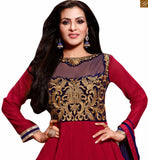 Image of New collection beautiful dresses salwar kameez 2015 asian suits shop online for women red georgette heavy floral embroidered kameez and patch work on lower part with red santoon bottom