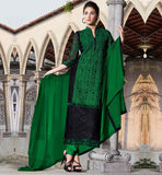 PURCHASE PAKISTANI SHALWAR KAMEEZ DESIGN 2015 GREEN AND BLACK SUIT WITH SANTOON BOTTOM AND PURE NAZNEEN DUPATTA
