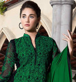 GREEN AND BLACK SUIT WITH SANTOON BOTTOM AND PURE NAZNEEN DUPATTA PARTY WEAR STRAIGHT CUT SEMI BAMBERG GEORGETTE KAMEEZ