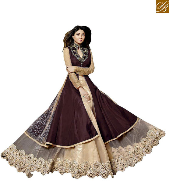 CELEBRITY SHILPA SHETTY IN ETHNIC EMBROIDERED DESIGNER ANARKALI SUITS KMSH7020 PURPLE COLOR