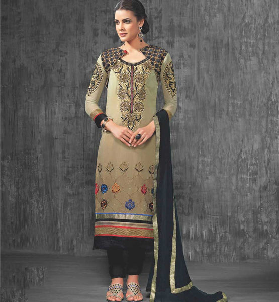 DESIGNER BEIGE PARTY WEAR SALWAR SUIT VDAAN7021