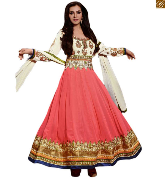 Photo of Indian dress design patterns salwar kameez 2015 party suit cream and dusty-pink georgette floral embroidered salwar kameez with dusty-pink santoon bottom