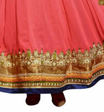Image of Cream and dusty-pink georgette floral embroidered salwar kameez with dusty-pink santoon bottom