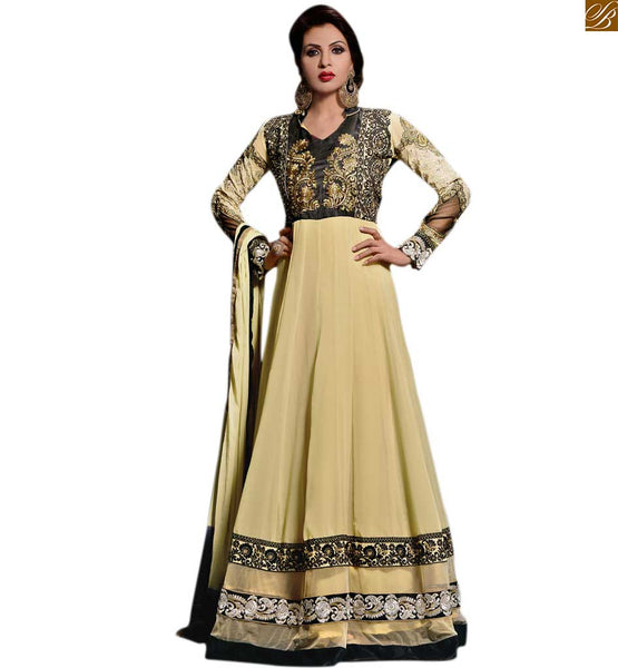 Photo of Trendy churidar neck designs latest pakistani dresses for girls beige georgette heavy embroidered kameez with velvet border on lower part and beige santoon bottom