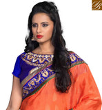 SUPERB JACQUARD AND GEORGETTE SAREE WITH EMBROIDERED BLOUSE