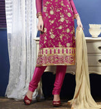 pink straigth cut kurti with churidar & dupatta