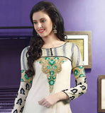 out-standing off-white Pure Banarasi chanderi fabric straight style salwar kameez