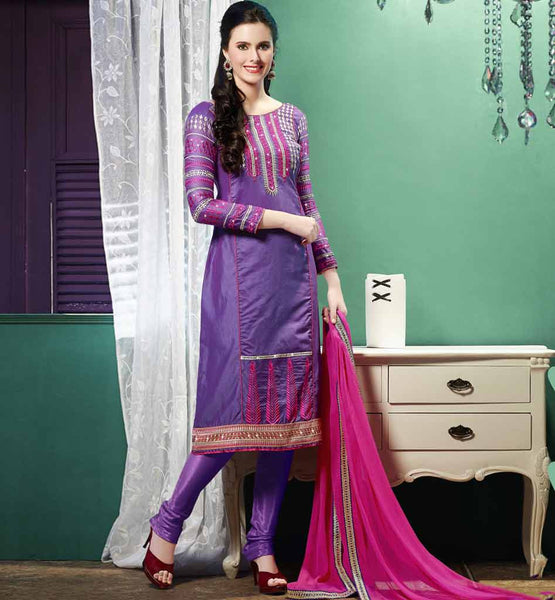 ONLINE SHOPPING CHURIDAR SALWAR KAMEEZ DESIGN PURPLE STRAIGHT SUIT