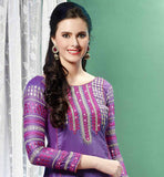 pleasing purple pure Banarasi chanderi material straight design dress