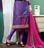 purple long kurti with salwar and pink chiffon dupatta