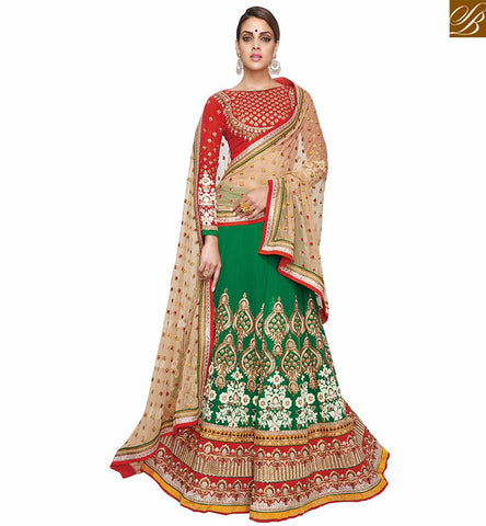 FROM THE HOUSE  OF STYLISH BAZAAR GORGEOUS GREEN AND RED LEHENGA SARI DESIGN VDKHA704