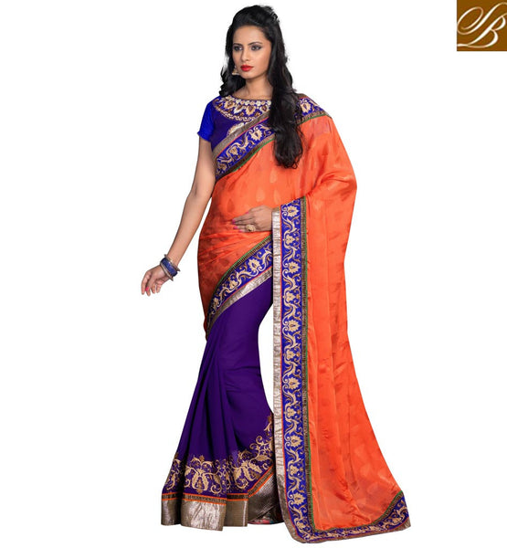 INDIAN DESIGNER SAREES WITH SMART COLOR COMBINATION & PREMIUM FABRIC