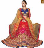 A STYLISH BAZAAR PRESENTATION STUNNING BLUE AND RED LEHENGA CHOLI DESIGNER SAREE VDKHA705